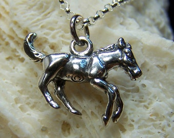 SALE - Horse Necklace, Sterling Silver, Charm, Animal Jewelry, Equestrian, Pendant