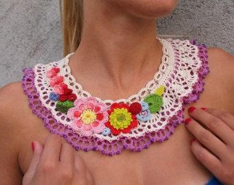 romanian folk... Free form crochet necklace... multicolor statement necklace