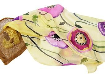Batik Poppy Silk Hand Painted Scarf.