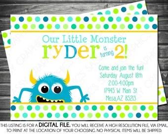 Boy Birthday Monster Invitation - Polka Dot, Blue, Green, Yellow, Printable, Digital