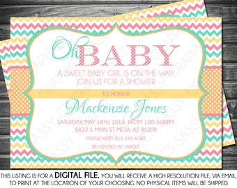 Girl Baby Shower Invitation - Polka Dot, Chevron, Pink, Teal, Orange, Oh Baby, Printable, Digital