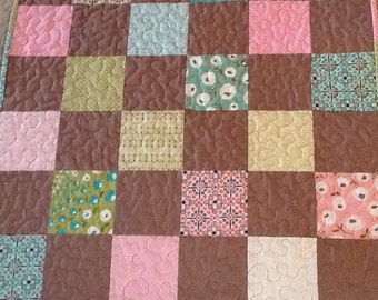Pink, Aqua and Brown Classic Patchwork Baby Quilt,  Aqua Quilted Throw,  Modern Quilt,  Quiltsy Handmade