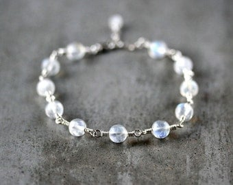 Moonstone Bracelet, Rainbow Moonstone Gemstone Sterling Silver Wire Wrapped Bracelet - Twilight