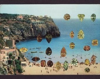 Cala Cala original vintage postcard collage 15cm x 10.6cm