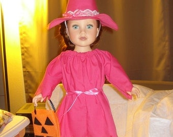Fabulous pink good witch dress and hat costume for 18 inch Dolls - ag197
