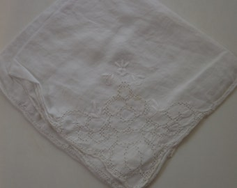 White Cutwork and Embroidery Vintage Cocktail or Tea Napkins