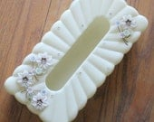 Vintage 50's Pale Yellow Lucite and Rhinestone Floral Tissue Holder