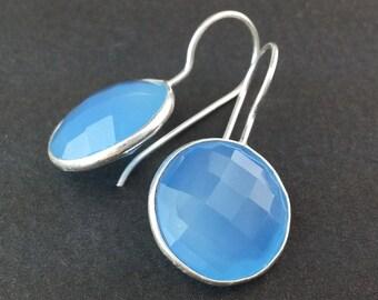 EE020001) Blue Chalcedony Checker Board 925 Sterling Silver Earrings