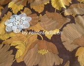 """silk fabric, huge floral print on brown silk cotton blend fabric, one yard by 44"""" wide"""