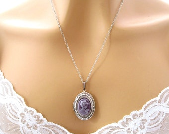 Victorian Cameo Locket Necklace: Victorian Woman Lavender Purple Cameo Necklace Tiny Silver Victorian Locket  Cameo Locket Victorian Jewelry