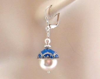 Drop Pearl Earrings, Silver 12 mm White Pearl Drop Earrings, Aqua Blue Accents, Sweet 16, Large Pearl Earrings