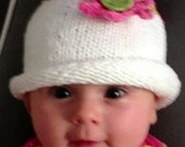Beau's Fanciful Flower Baby and Toddler Hat PDF Download Knit Pattern