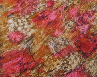 "Vintage 1950s Silk Fabric / 50s Impressionist Floral Print Yardage / 2 3/4 yards 43"" width"