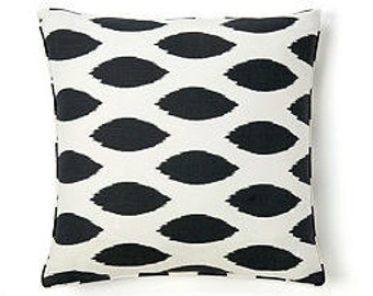Pillow Cover Cushion 24x24 geometric suzani ikat black and white pattern, other sizes available, pick your color