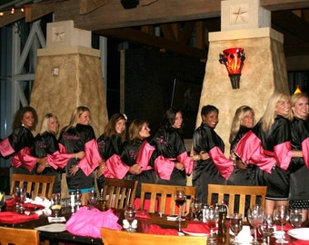 Bridesmaid robe Black bridesmaid dressing gown bright pink bride robes personalized robes silk bridesmaids robes silk floral robe kimono kid