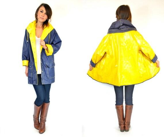 Yellow Amp Navy Blue Reversible Waterproof Hooded Vinyl Raincoat