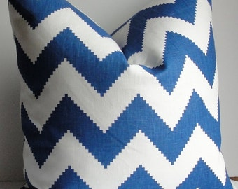 JONATHAN ADLER KRAVET Chevron Marine Blue white Decorative throw pillow, Both Sides Designer Limitless ZigZag accent linen pillow