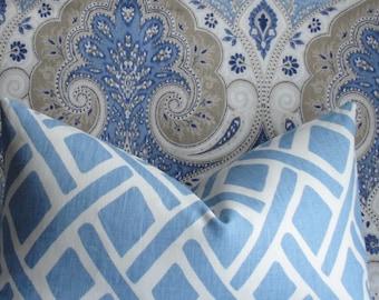 GEOMETRIC KRAVET trellis -River Blue - Decorative pillow cover- throw pillow - accent pillow-both sides-lattice-linen-designer