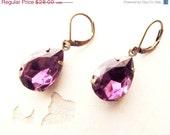 Amethyst Earrings/ Estate Style Dangle Vintage Earrings/ weddings Jewelry/ Dark Purple Bridesmaids Gift
