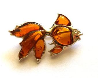 Baltic Amber Jewelry Fish Pin Cognac Natural 925 silver