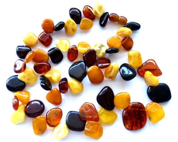 "Baltic Amber Sea-Buckthorn Necklace Multicolor Beaded 20"""