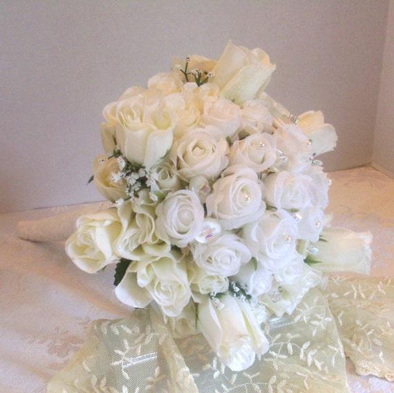 Winter White Wedding Flowers: White Rose Wedding Bouquet Silk Flowers Button By
