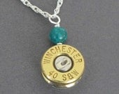 Bullet Jewelry, Custom Bullet Necklace, Custom Caliber, Winchester 40 S&W Necklace in Sterling Silver, Handmade Bullet Necklace, Made in USA