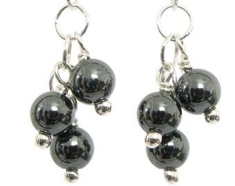Simple Hematite Earrings - Hematite and Sterling Silver Earrings, Handmade Hematite Earrings, Hematite Dangle Earrings, Hematite and Silver