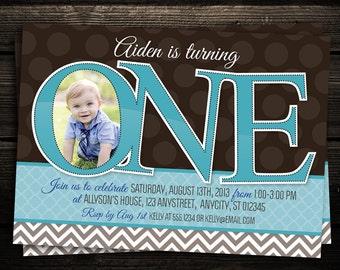1st birthday invitation boy, Blue Chevron Invitation, First Birthday Party Printable Photo Invitation  -- Any Color