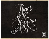 INSTANT DOWNLOAD - Vintage Thank You Calligraphy Chalkboard Style - Blog or Website Graphic