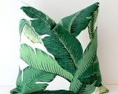 Green Floral Decorative Designer Pillow Cover Accent Cushion Tropical Palm fronds Leaves nature jungle forest modern martinique Resort