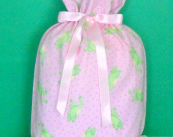 Leaping Frogs on Pink Medium Fabric Gift Bag - Baby Shower, Babies, Girl, Green, Yellow, Lavender, Pastel