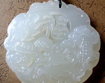 Afghanistan Jade Dragon Word FU Amulet Pendant 45mm x 45mm  T0395