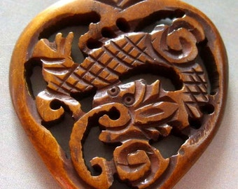 Ox Bone Carved Celestial Dragon Heart Amulet Pendant 40mm x 35mm  T1224