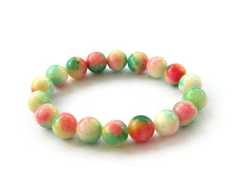 10mm Multiple Color Stone Round Beaded Prayer Beads Charm Bracelet T3049