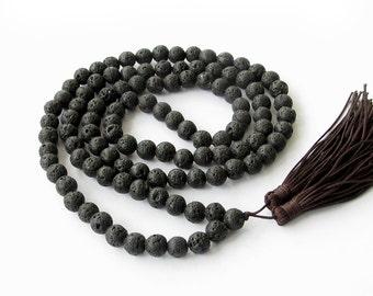 Tibetan Buddhist 108 Volcano Stone Meditation Yoga Prayer Beads Beaded Mala Necklace--8mm  ZZ084