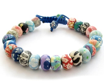 Colorful 9mm x 6mm Polymer Clay Fimo Rondelle Beads Adjustable Bracelet  T3096