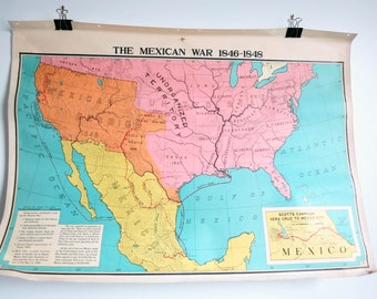 Double sided Antique Schoolhouse Map - The Mexican War