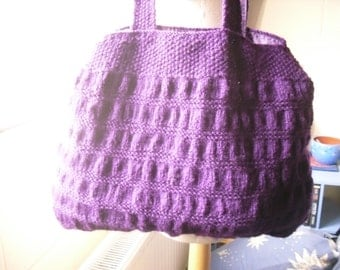 Purple Handbag. Hand Knitted Purple Tote Bag.