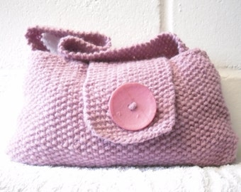 Hand Knitted Bag, Small Pink Evening Bag