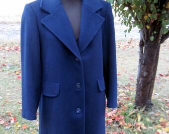 Navy Winter Coat, Long Women's Coat, Wool Coat, Navy Coat, Ladies Wool Coat, Long Winter Coat, Navy Wool Coat, Long Navy Coat, Navy