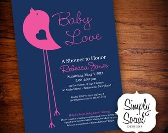 Little Bird Baby Shower Invitation Navy and Hot Pink