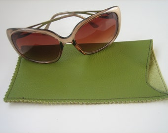 Green Leather Large Sunglasses Case