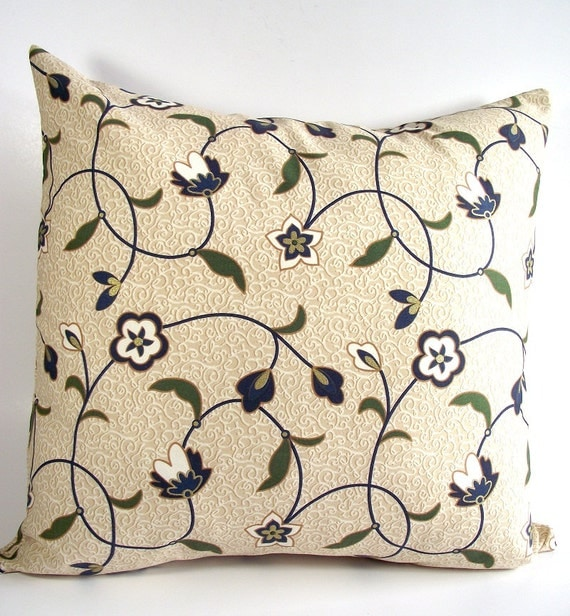 Floral Decorative Pillow Cover 18 x 18 Throw Pillow Accent Pillow BEIGE BLUE Designer Pillow Case