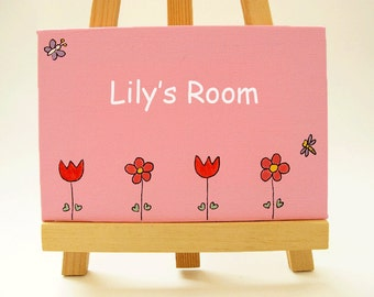 Personalized child's name door Sign on canvas flowers pink and red sign for girls
