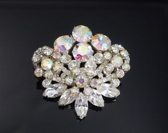 Vintage Juliana Brooch, Verified Delizza and Elster, White Rhinestone Brooch, 1950s Jewelry