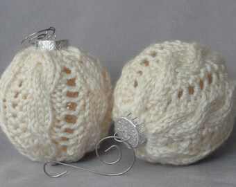 "Pair of Cable Knit 9"" Chistmas Ball Globe Ornaments in Ivory with Silvertone Hangers"