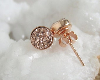 Rose Gold Druzy Stud Earrings Tiny Titanium Drusy Quartz Earrings Rose Gold Vermeil Bezel Set