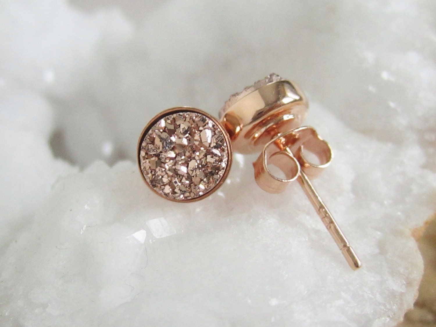 Druzy Earrings Druzy Earrings Studs Stud Earrings Rose Gold
