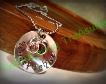 Mommy Necklace Domed Hand Stamped Stainless Steel Name Necklace